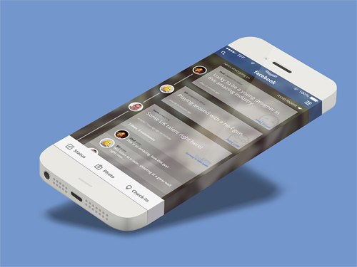 iOS7 Facebook Concept PSD Freebie