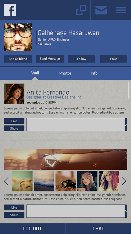 FaceBook Mobile UI Redesign for Inspiration