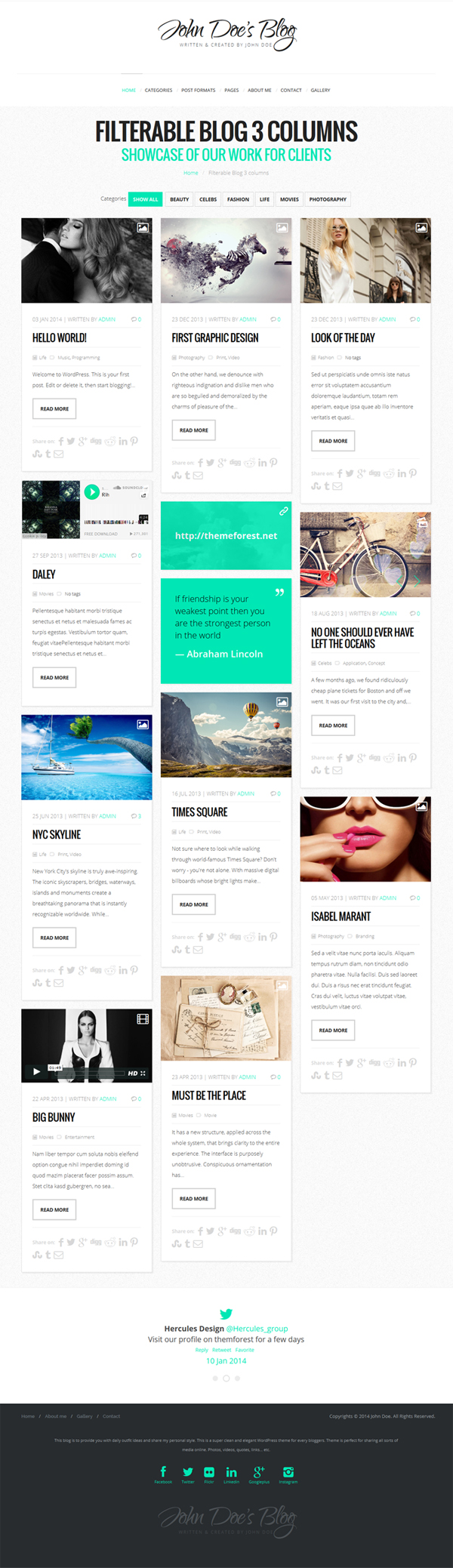 John Doe's Blog - Clean WordPress Blog Theme