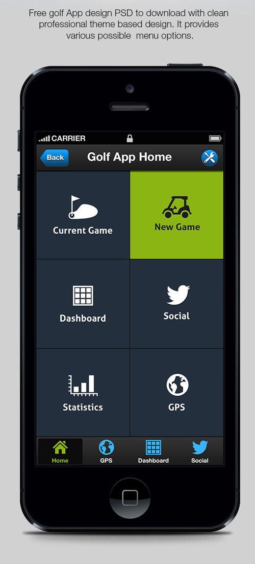 Golf iPhone App Menu Designs Free PSD