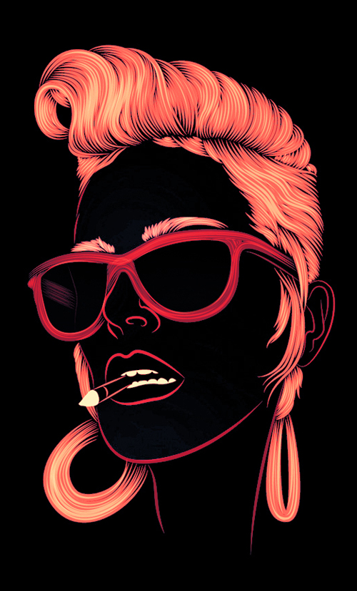 amazing illustrations digital seymour patrick illustration pop graphic inspiration artwork awesome illustrator designs artist neon rockabilly hair glasses cool drawings
