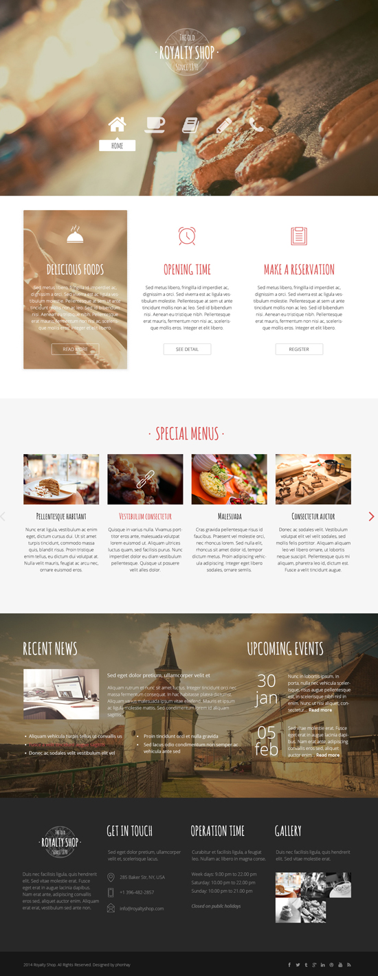 Royalty Shop - Restaurant PSD Template