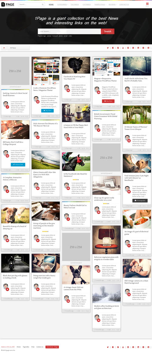 1Page - Masonry WordPress News Theme