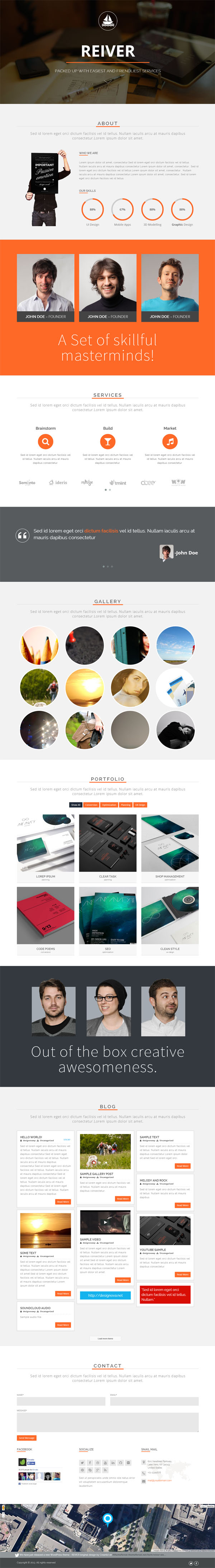 REIVER - WordPress One Page Responsive Portfolio Theme