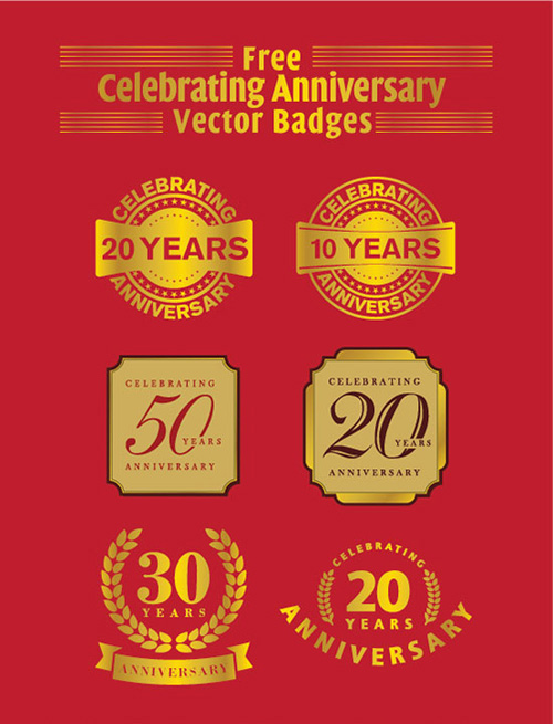 20 years anniversary vector badges ai eps
