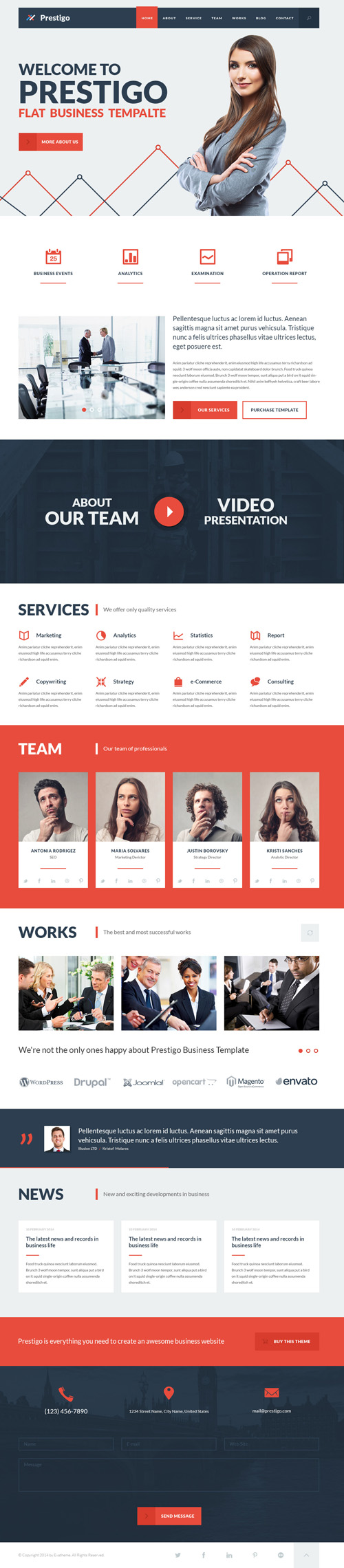 Prestigo - Flat Business Template