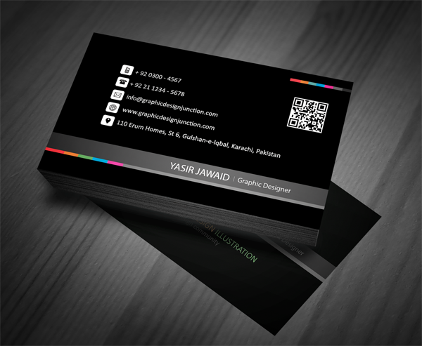 Creative business card mockup front black