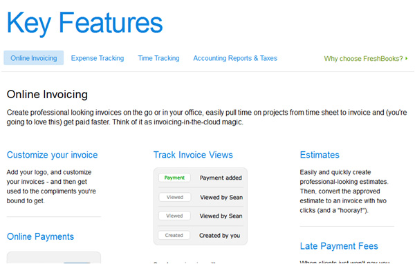 freshbooks key features