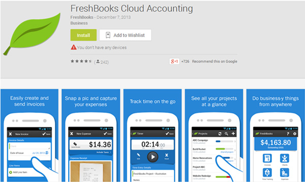 freshbooks iOS and Android App