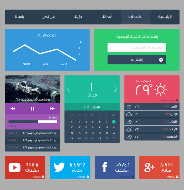 Flaty UI elements of the user interface in Arabic