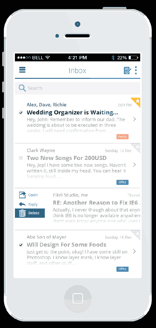 How to Design an iOS 7 Email App in Photoshop