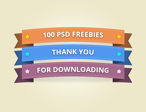 100 Ribbon Free PSD
