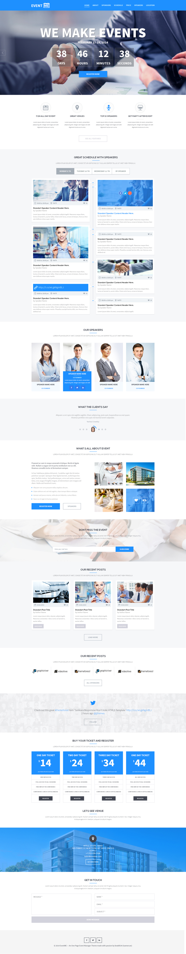 EventME - One Page Event Manager PSD Theme ( FREE PSD )