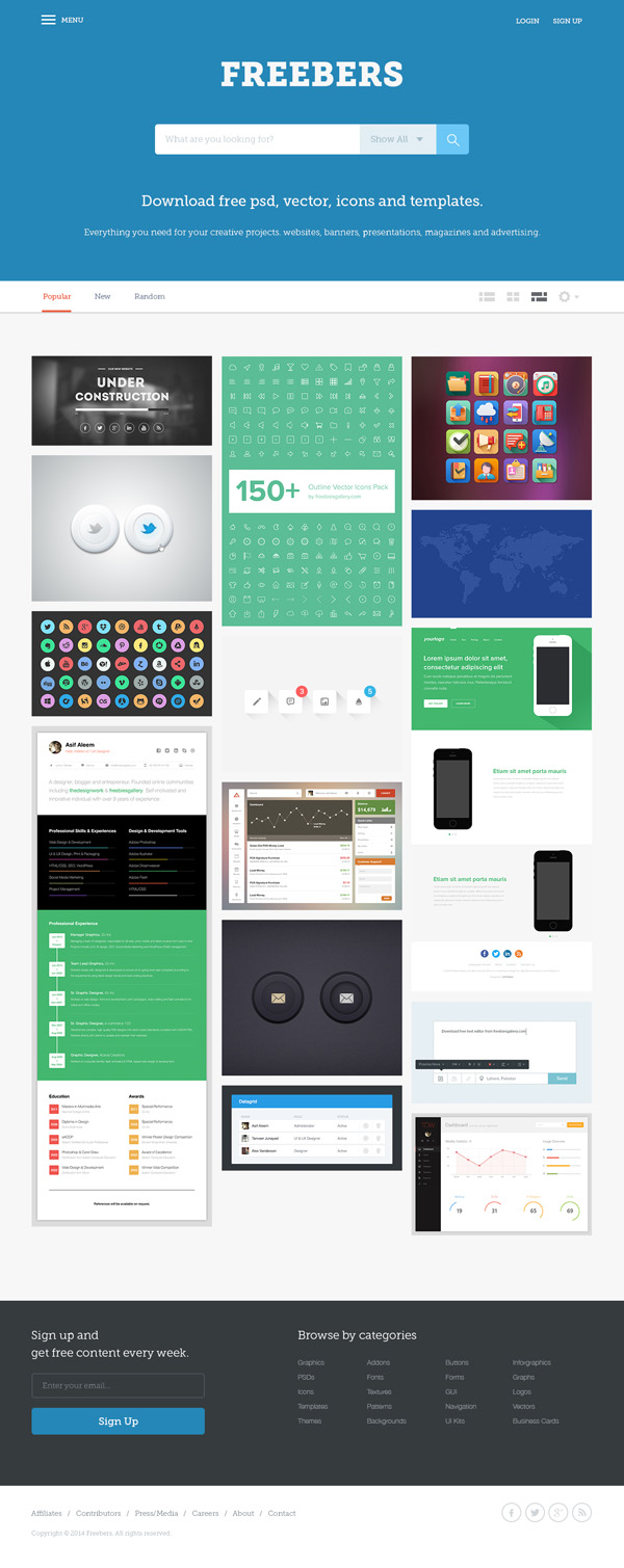 Psd templates 20 one page free web templates freebies graphic freebers free web template pronofoot35fo Choice Image