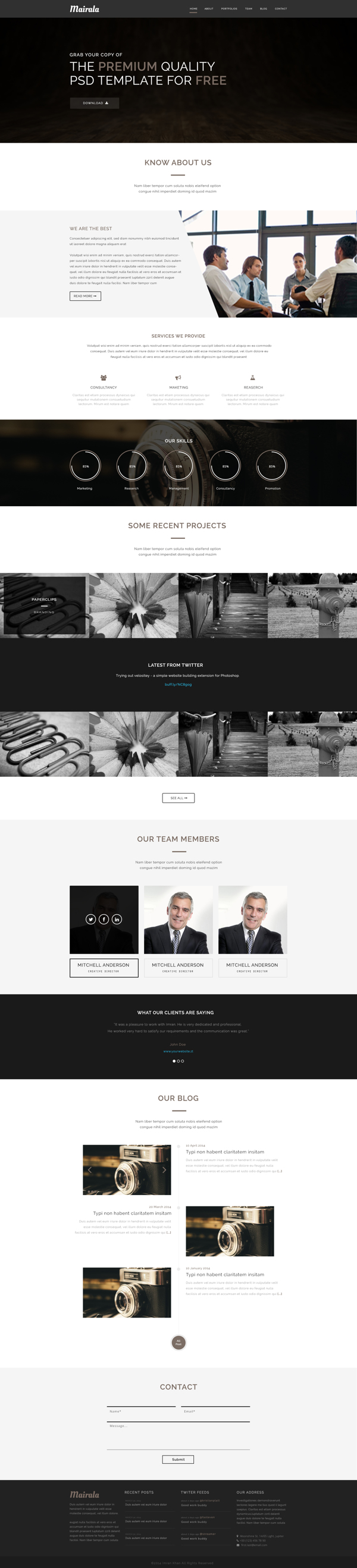 MAIRALA - Free One Page Corporate Agency PSD Template