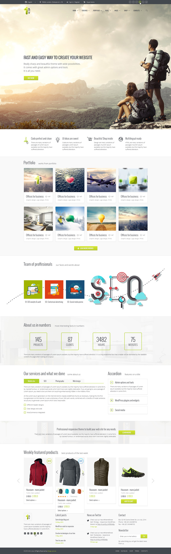 html5 one page website templates with ui ux experience design
