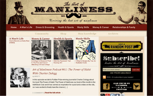 ArtOfManliness (created using DIY themes)