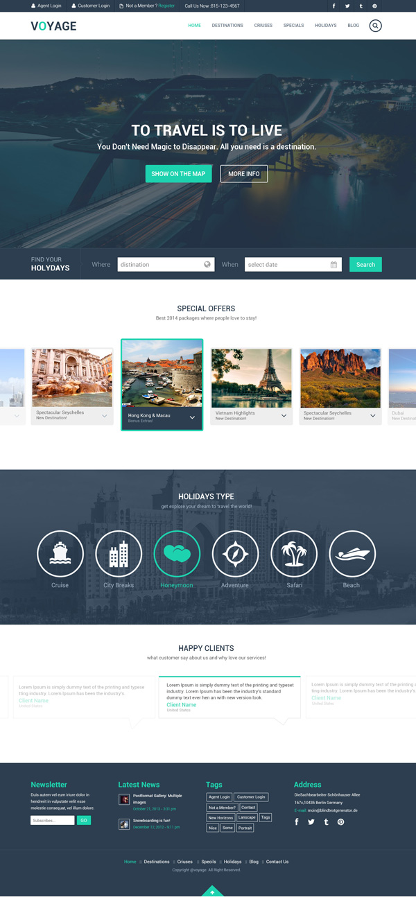 Psd templates 20 one page free web templates freebies graphic travel free psd template wajeb Choice Image