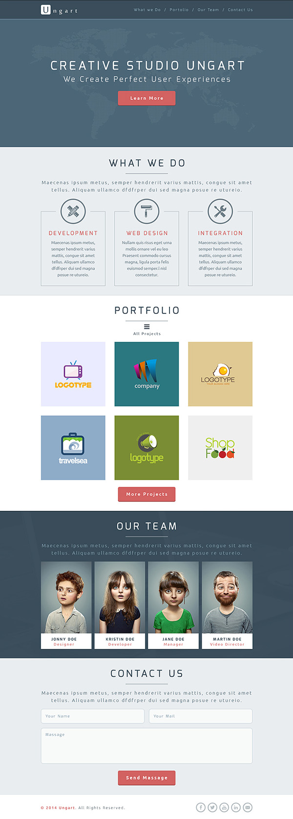 Ungart - One Page PSD Template