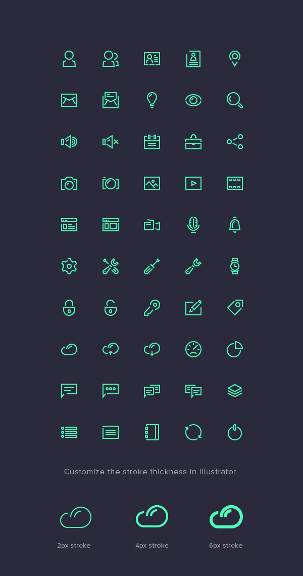 Stroke Gap Icons Set Vol.1 (50 Icons)
