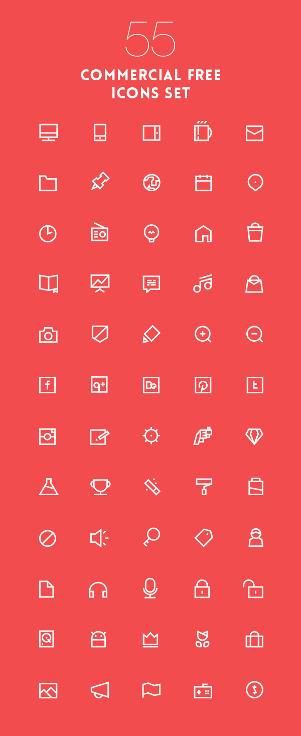 Lovely Vector Outline Icons Pack EPS (55 Icons)