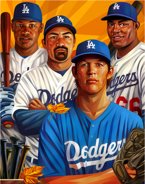 Ramirez, Gonzalez, Kershaw, Puig Portrait Illustration