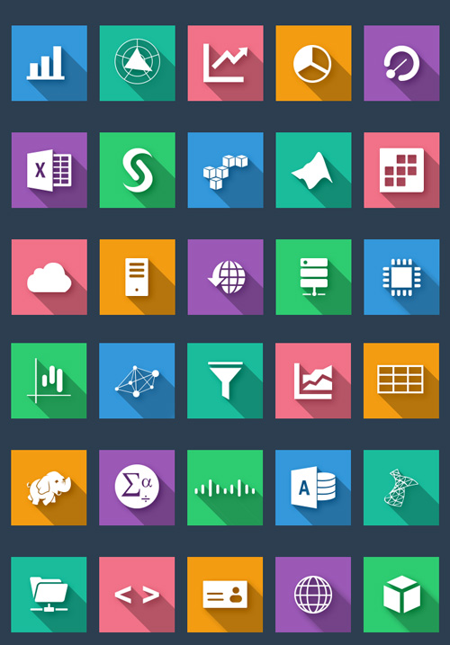 Flat Business and Analysis Icons PSD files
