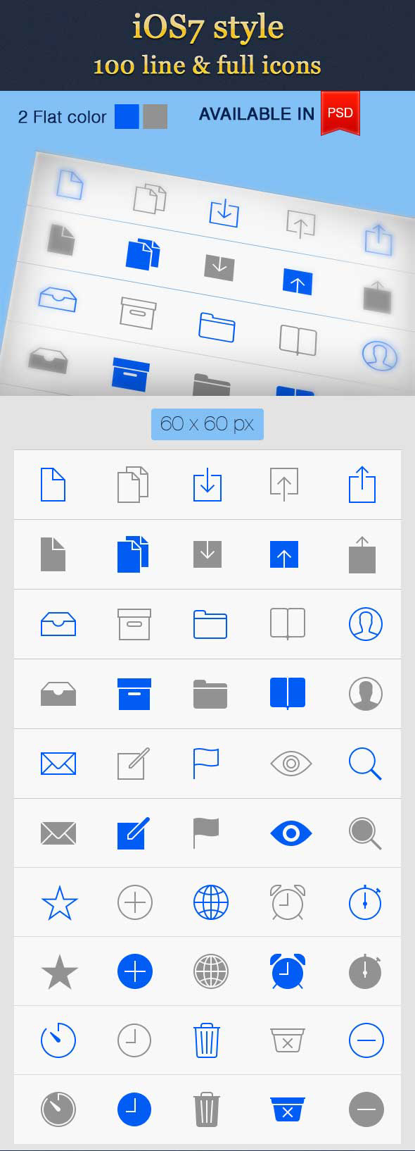 iOS7 Style Line Icons Vector PSD (100 Icons)