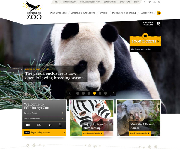 Edinburgh Zoo Responsive Website