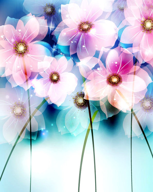 Fantasy Flowers Background Vector Background