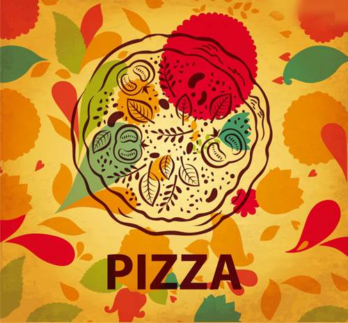 Delicious Hand Painted Pizza Vector Background