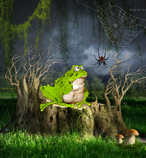 Create cartoon illustration from the photo manipulation with Photoshop tools