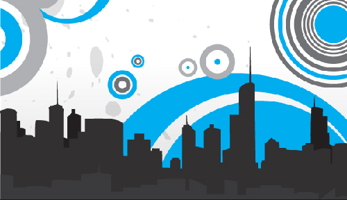 Vector City Skyline with Circles