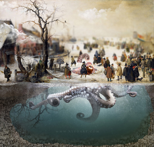 Photo Manipulation with Old Oil Painting - Winter Scene on a Canal