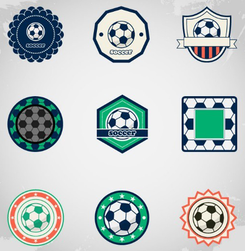 Soccer Ball Badge/Label Set Vector