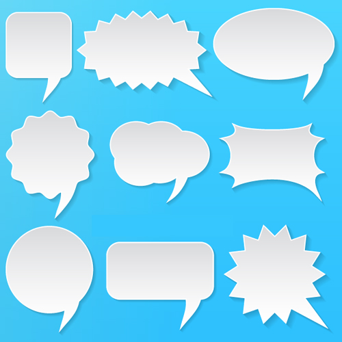 Vector White Speech Bubbles Set