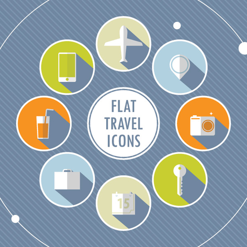 Flat Travel Icons Vector Graphic