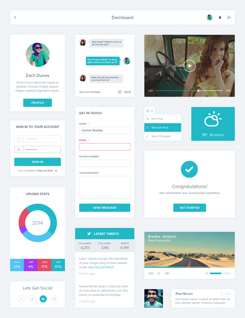 free photoshop psd ui kits elements for designers design