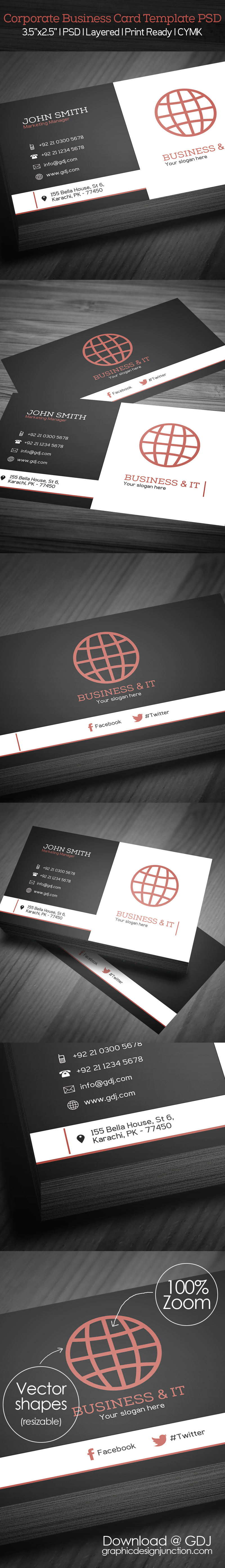 free corporate business card template psd freebies