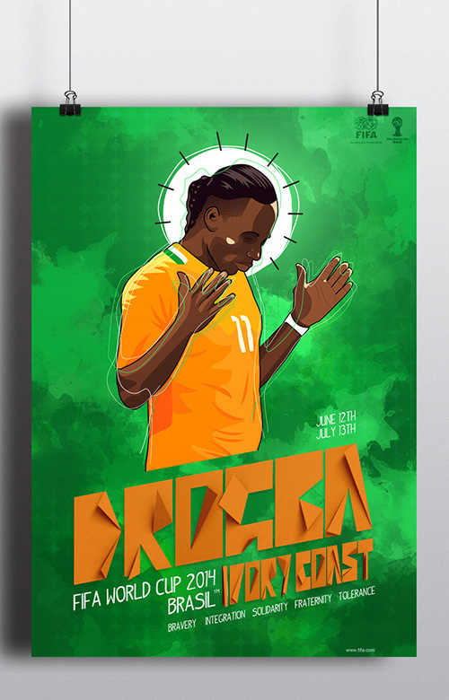 Fifa World Cup 2014 Drogba Poster