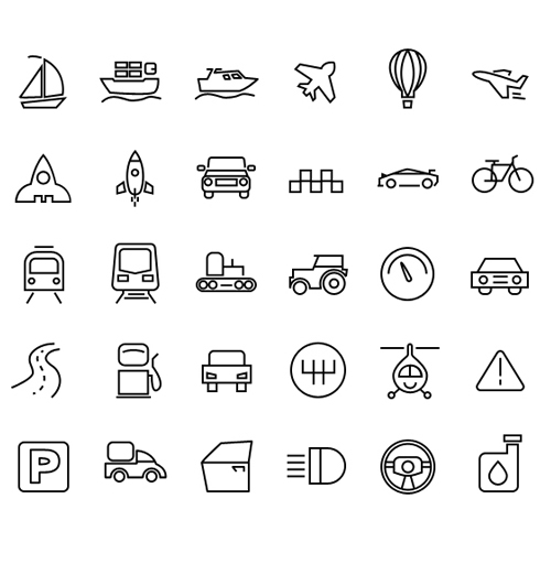 Transport Icons PSD and AI