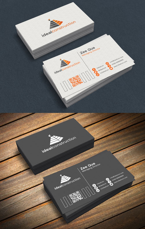 Black & White Business Card PSD Mock-ups