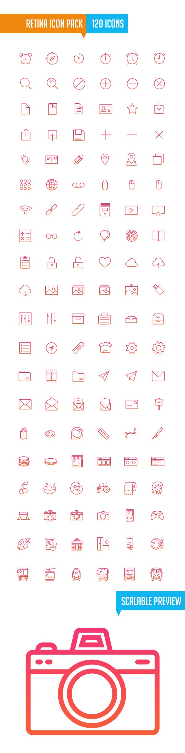 Retina Icon Pack (120 Icons)