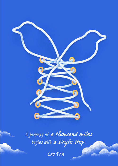 A Journey of a Thousand Miles Begin with a Single Step Typogrpahy design by Lao Tzu