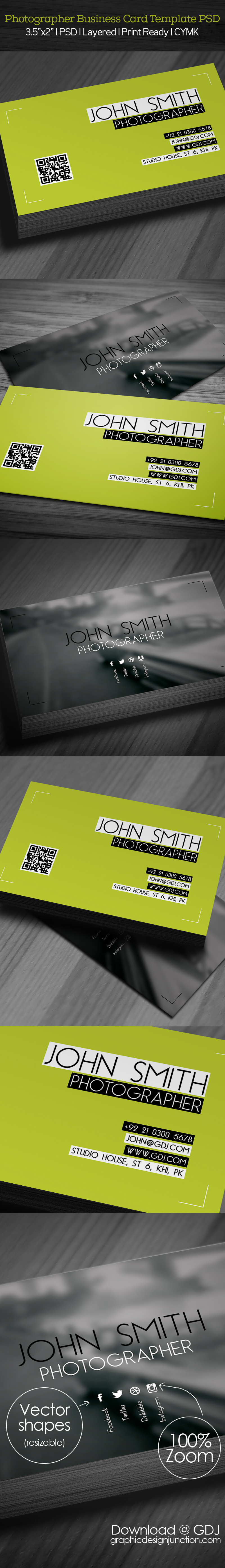 free photographer business card psd template freebies