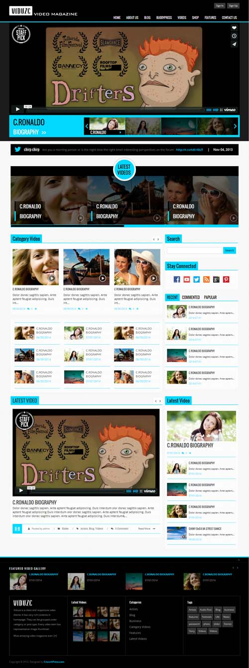 Viduze - Responsive Video Magazine WordPress Theme