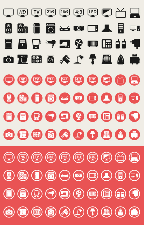 Electronic Appliances Vector Icons Set (40 Icons)