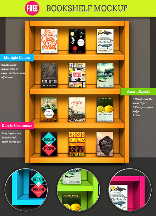 Colorful Bookshelf Mockup