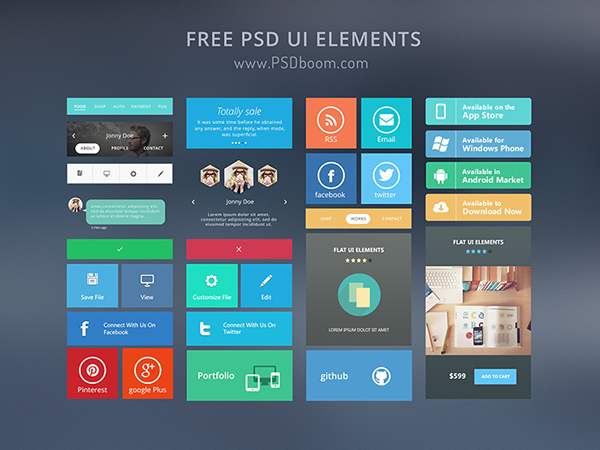 Free PSD Flat UI kit/elements
