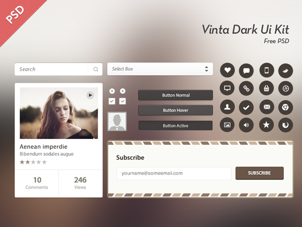 Vinta Dark Ui Kit Free Psd